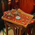 Painted Glass 'Crimson Garden' Tray (Peru)