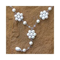 Stainless Steel 'Dew-kissed' Pearl Necklace (6-8.5 mm) (Thailand)
