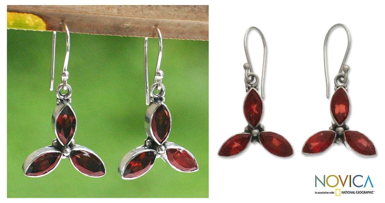 Sterling Silver 'Helix' Garnet Earrings (Indonesia)