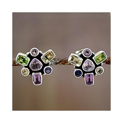 Sterling Silver 'Charm of Wisdom' Multi-gemstone Earrings (India)