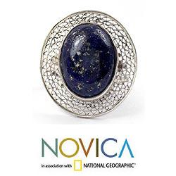 Sterling Silver 'Whisper' Lapis Lazuli Cocktail Ring (India)