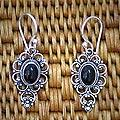 Sterling Silver 'Precious Night' Onyx Dangle Earrings (Indonesia)