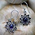 Sterling Silver 'Sunflowers' Amethyst Dangle Earrings (Indonesia)