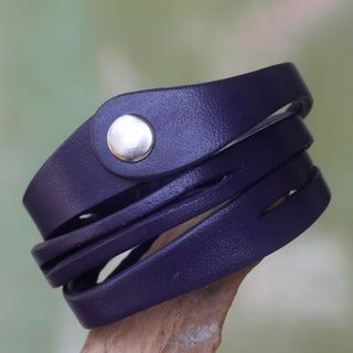Handcrafted Leather 'Fuchsia Whisper' Wrap Bracelet (Indonesia)