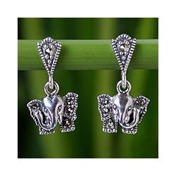 Sterling Silver 'Iyara Elephant' Marcasite Earrings (Thailand)