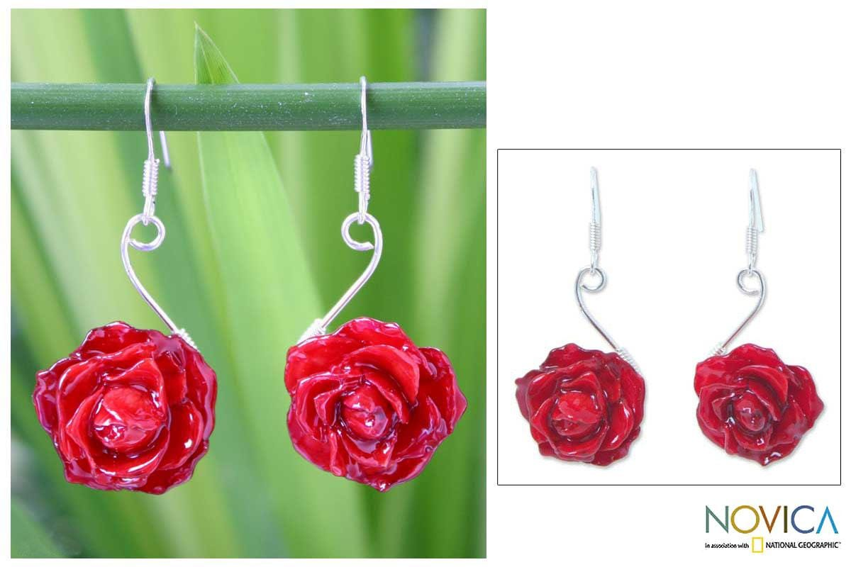 Sterling Silver 'Scarlet Romance' Natural Rose Earrings (Thailand)