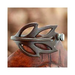 Handcrafted Leather 'Autumn Leaf' Wrap Bracelet (Indonesia)