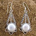 Sterling Silver 'Moon and Stars' Pearl Earrings (8mm) (India)