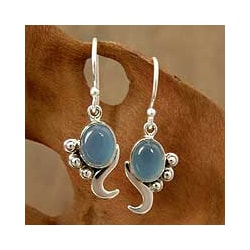 Hindu Harmony Gray Blue Oval Chalcedoney Set in Swirling Polished 925 Sterling Silver Womens Dangle Earrings (India)