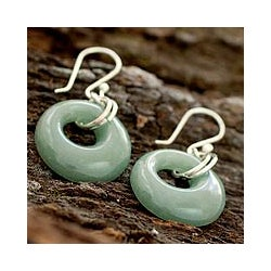 Sterling Silver 'Maya Memory' Jade Earrings (Guatemala)