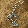 Sterling Silver 'Morning Bloom' Blue Topaz Pendant Necklace (India)