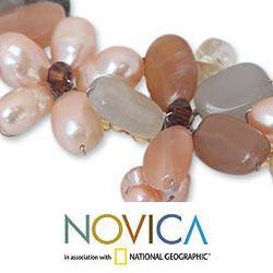 Multi-gemstone Pearl 'Bangkok Bouquet' Necklace (3.5-6 mm) (Thailand)