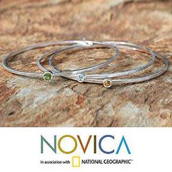Set of 3 Silver 'Spring Rainbow' Multi-gemstone Bracelets (Thailand)