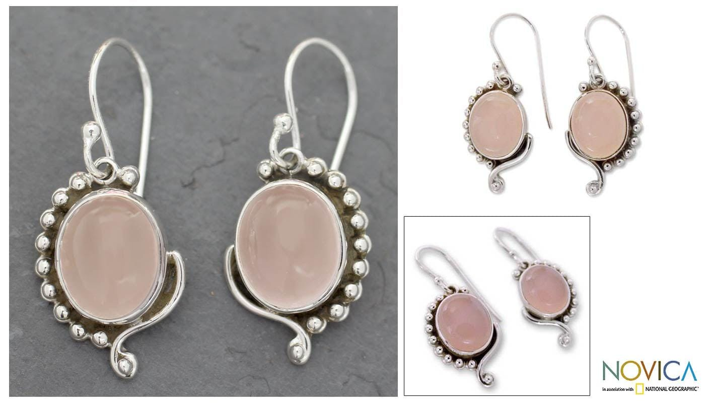 Sterling Silver 'Delhi Romance' Rose Quartz Dangle Earrings (India)