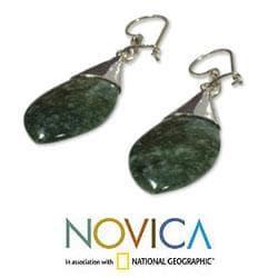 Sterling Silver 'Maya Lance of Life' Jade Dangle Earrings (Guatemala)
