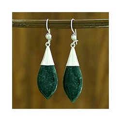 Sterling Silver 'Maya Lance of Life' Jade Dangle Earrings (Guatemala)