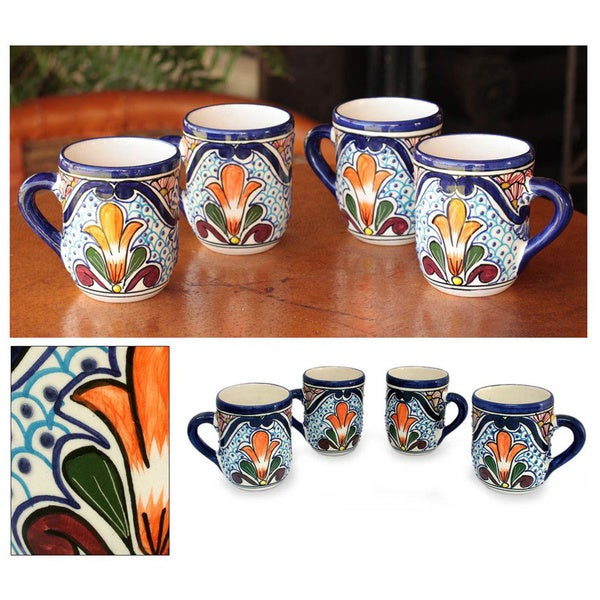 Set of 4 Handcrafted Ceramic 'Taste of Mexico' Talavera Mugs (Mexico) 8606826
