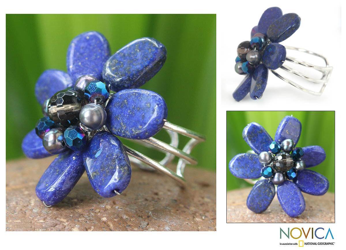 Lapis Lazuli and Pearl 'Phuket Flowers' Ring (4 mm) (Thailand)