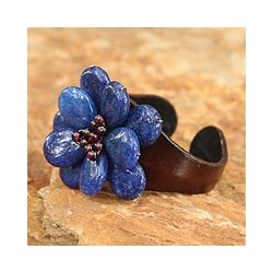 Multi-gemstone 'Koh Samet Blossom' Leather Bracelet (Thailand)