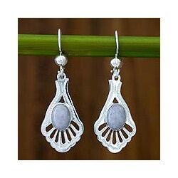 Sterling Silver 'Lilac Peacock' Jade Dangle Earrings (Guatemala)