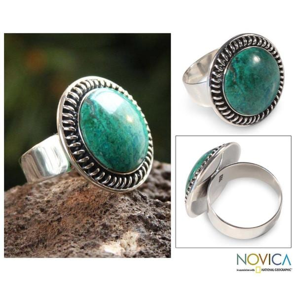 Handmade Sterling Silver 'Andean Moon' Chrysocolla Cocktail Ring (Peru) 8606850