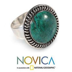 Sterling Silver 'Andean Moon' Chrysocolla Cocktail Ring (Peru)