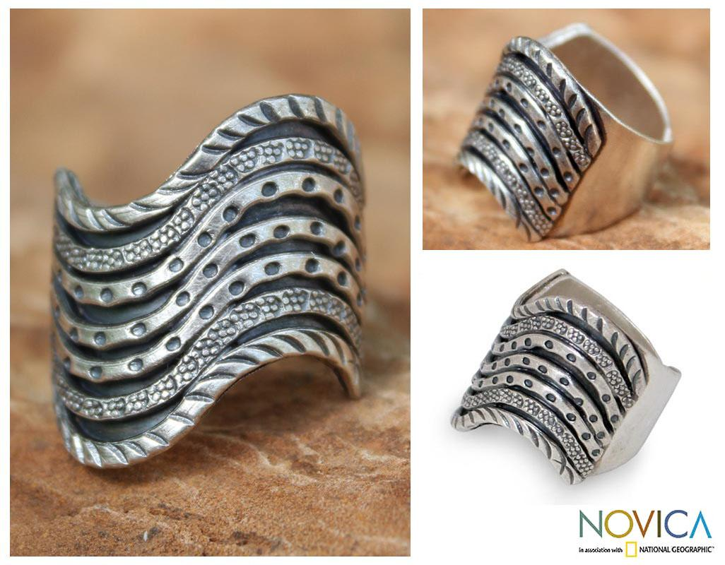 Silver 'Hmong Rivers' Ring (Thailand)