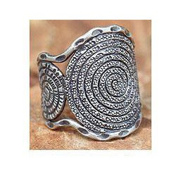 Sterling Silver 'Hill Tribe Moon' Ring (Thailand)