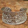 Sterling Silver 'Princess Garden' Cuff Bracelet (Thailand)