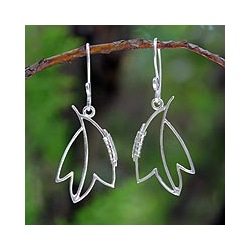 Sterling Silver 'Maple Abstraction' Earrings (Thailand)