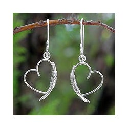 Sterling Silver 'Love Promise' Earrings (Thailand)