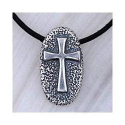 Sterling Silver Men's 'Crusader' Leather Cross Necklace (Mexico)