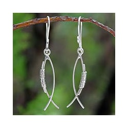 Sterling Silver 'Sea Life Abstraction' Earrings (Thailand)