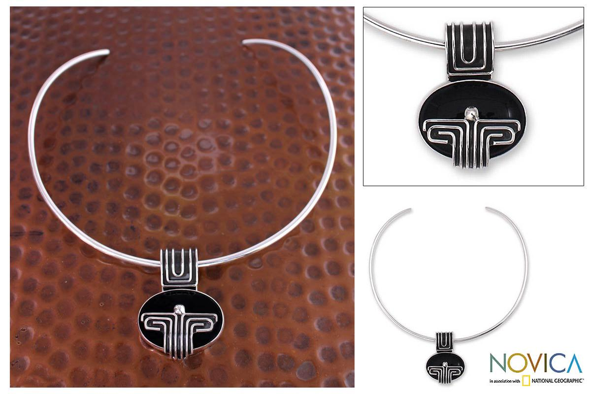 Sterling Silver 'Grand Tenochtitlan' Obsidian Choker (Mexico)