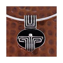 Sterling Silver 'Grand Tenochtitlan' Obsidian Choker (Mexico)