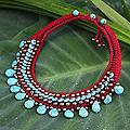 Handcrafted Brass 'Tribal Color' Polyester Resin Necklace (Thailand)