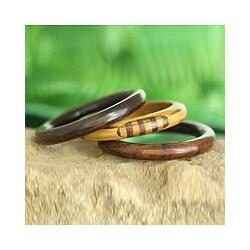 Set of 3 Seesham Wood 'Forest Goddess' Bangle Bracelet (India)