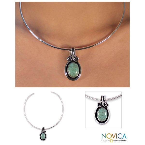 Sterling Silver 'Sea Goddess' Turquoise Choker (Mexico)