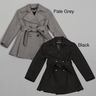 Via Spiga Girls Wool Blend Skirted Trench Coat