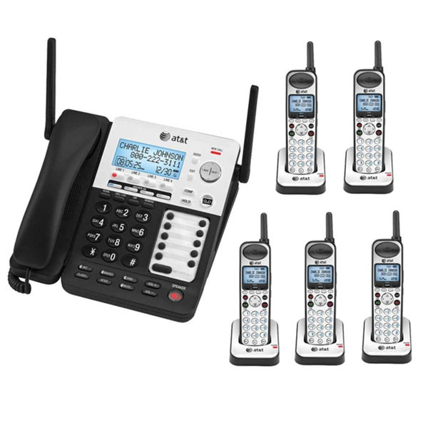 AT&T SB67118 4-Line Extendable Range Corded-Cordless Small Business Phone System with Five Phones