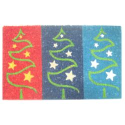'Three Christmas Tree' Coir Door Mat