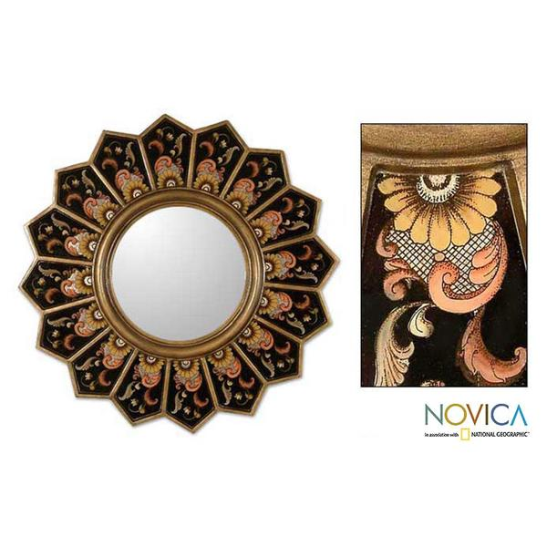 Glass Cedar Wood 'Sunflower Fan' Mirror (Peru)