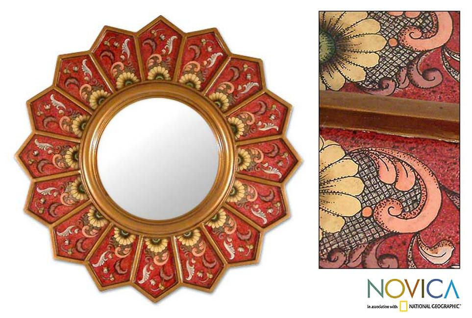 Glass Cedar Wood 'Red Sunflower Fan' Mirror (Peru)