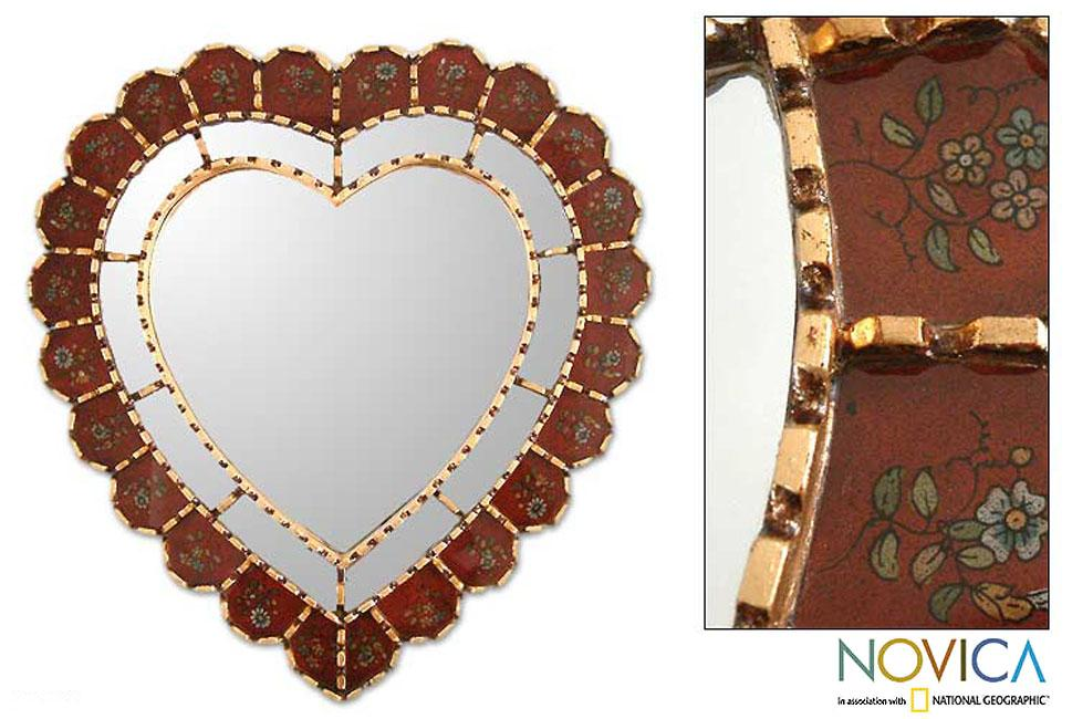 Glass Mohena Wood 'Sweetheart' Mirror (Peru)