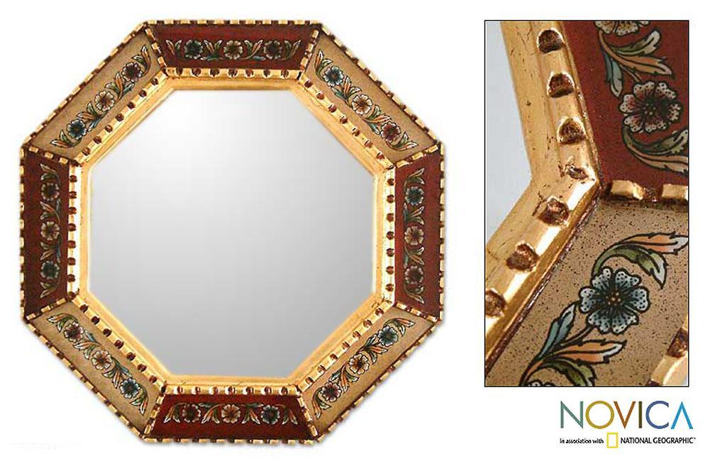 Glass Mohena Wood 'Summer Scarlet' Mirror (Peru)