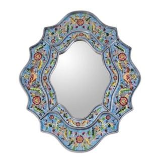Handmade Revers Painted Bright Blue Sky Flower Mirror (Peru)