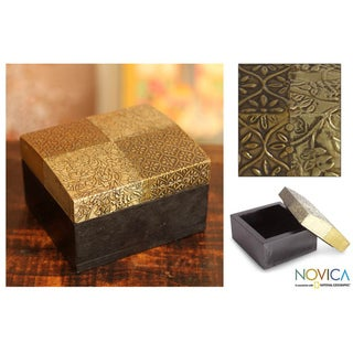 Handcrafted Brass and Aluminum 'Mughal Treasure' Repousse Box (India)