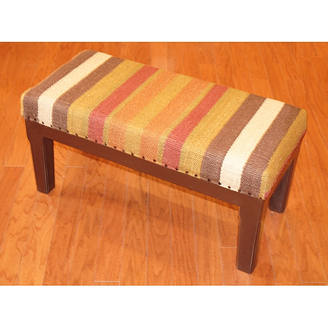 Handmade Kilim Striped Bench