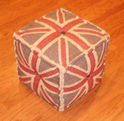 Handmade Indian Kilim Upholstery and Sheesham Wood Puff Ottoman