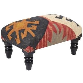 "Handmade Kilim Rectangular Ottoman Footstool (India) - 20"" x 12"" x 10"""